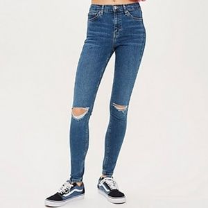 TOPSHOP Moto Jamie Jeans - Mid Blue Ripped